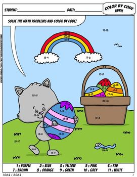 Color by Code : Math – APRIL – Easter – FREE - Common Core Aligned