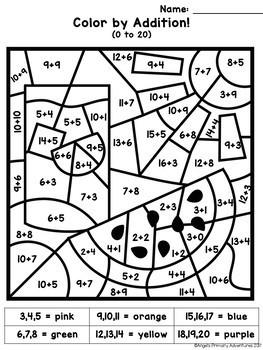 Color by Code Math Activities - 4 Seasons BUNDLE