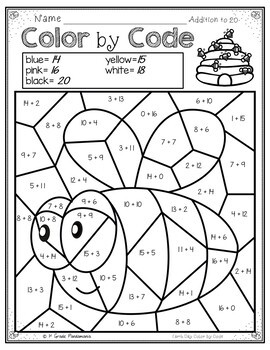 Color by Code Math Activities for Earth Day Grades 12 by 1st Grade