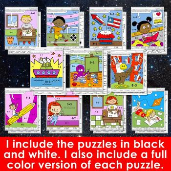 Color by Code: Math – BACK TO SCHOOL - 1st Grade - Common Core Aligned