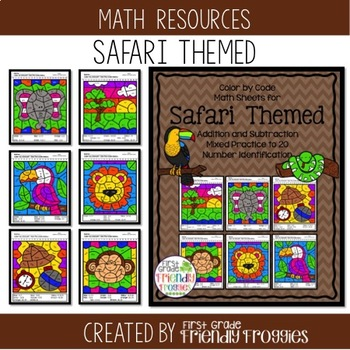 Color by Code - Math Coloring Sheets - Addition and Subtraction - Safari Themed