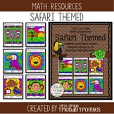 Math Coloring Sheets - Addition and Subtraction - Safari Themed