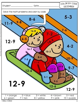 Color by Code: Math – DECEMBER – 1st Grade - Common Core Aligned