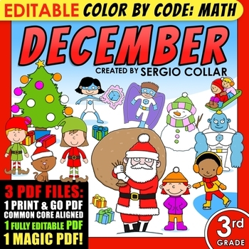 Color by Code: Math – DECEMBER – 3rd Grade - Common Core Aligned
