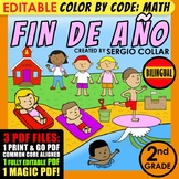 Color by Code: Math – END OF YEAR – 2nd Grade – BILINGUAL+EDITABLE