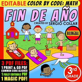 Color by Code: Math – END OF YEAR – 3rd Grade – BILINGUAL+EDITABLE