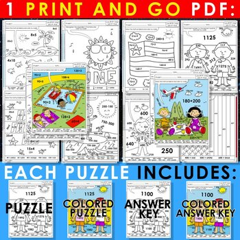 Color by Code: Math – END OF YEAR – 4th Grade – BILINGUAL+EDITABLE