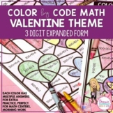 Color by Code Math Expanded Form Valentine Theme