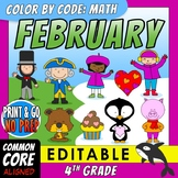 Color by Code: Math – FEBRUARY – 4th Grade – EDITABLE – Common Core Aligned