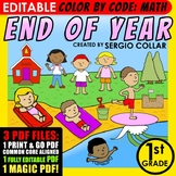 Color by Code: Math – END OF YEAR – 1st Grade –EDITABLE– Common Core Aligned