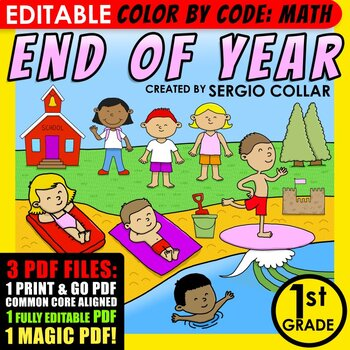 Color by Code : Math – END OF YEAR - 1st Grade - Common Co