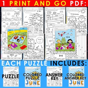 Color by Code : Math – END OF YEAR – 2nd Grade - Common Core Aligned