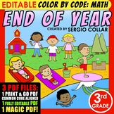 Color by Code: Math – END OF YEAR – 3rd Grade – EDITABLE – Common Core Aligned