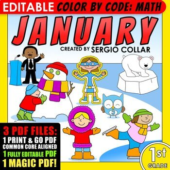 1st grade - January - Color by Code