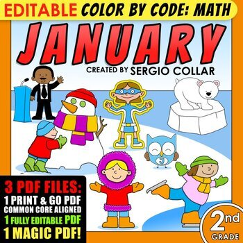 2nd grade - January - Color by Code