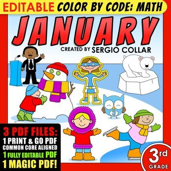 Color by Code: Math – JANUARY – 3rd Grade - Common Core Aligned