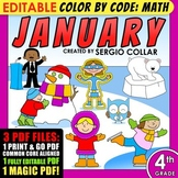 Color by Code: Math – JANUARY – 4th Grade – EDITABLE – Common Core Aligned