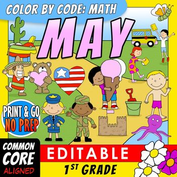 Color by Code : Math - MAY -1st Grade - Common Core Aligned