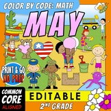 Color by Code: Math – MAY – 2nd Grade – EDITABLE – Common Core Aligned