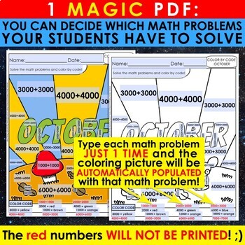 Color by Code: Math – OCTOBER – 2nd Grade - Common Core Aligned