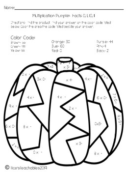 Color by Code Multiplication Pumpkins