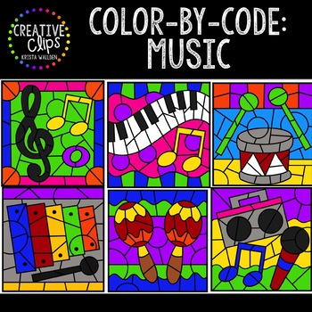 Color by Code: Music Clipart {Creative Clips Clipart}