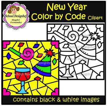 Color by Code - New  Year - Clip Art (School Designhcf)