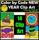 Color by Code New Year Clipart Digital Images Clip Arts