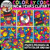Color by Code New Years Clipart {Color by Code Clipart}