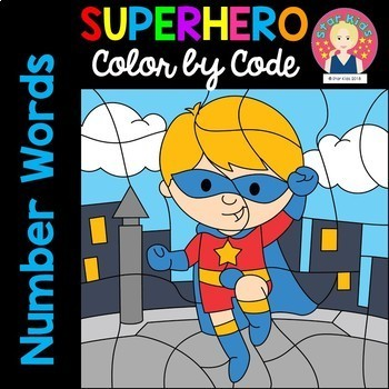 Color by Code Number Words {English and Spanish}