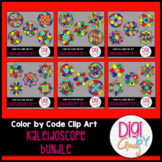 Color by Code Numbers Mandala Clip Art Bundle
