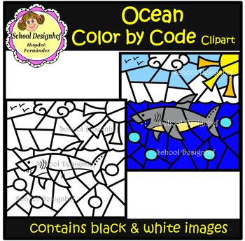 Color by Code - Ocean - Clip Art (School Designhcf)
