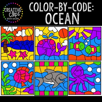 Color by Code: Ocean Clipart {Creative Clips Clipart}