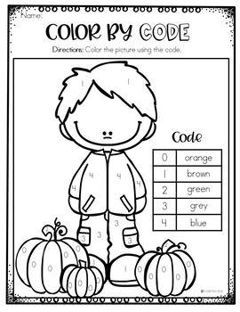 Fall Coloring Pages - Color by Code