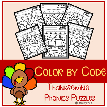 Color by Code: Phonics Thanksgiving Puzzles