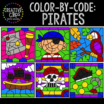 Color by Code: Pirate Clipart {Creative Clips Clipart}