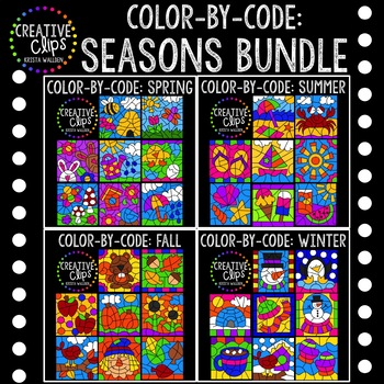 Color by Number or Code: Seasons Bundle {Creative Clips Clipart}