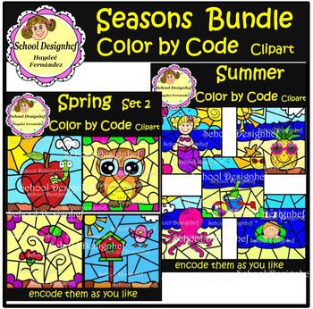 Color by Code - Seasons Bundle - Winter/Fall/Spring/Summer(School Designhcf)