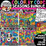 Color by Code Seasons Clipart Bundle {Color by Code Clipart}