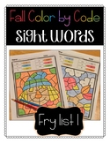Fall Color by Code: Sight Words