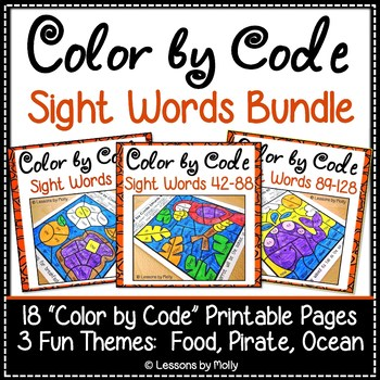 Color by Code Sight Words Bundle - Three Themes - Food/Pirate/Ocean (128 Words)