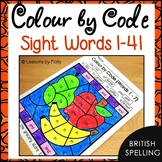 Colour by Code Sight Words {Words 1 to 41} British Spelling