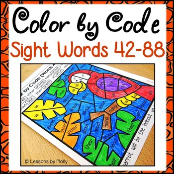 Color by Code Sight Words {Words 42 to 88}