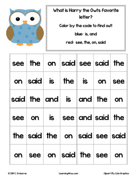 Color by Code: Sight word practice