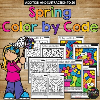 Color by Code Spring Math Activities {Addition and Subtraction to 20}