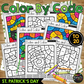 Color by Code St. Patrick's Day Math Activities {Addition & Subtraction to 20}