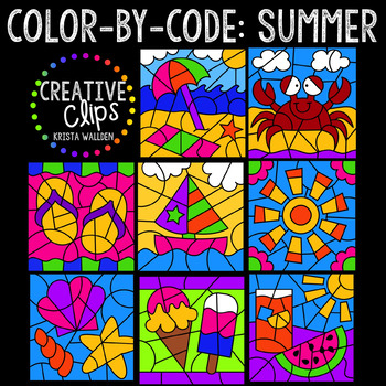 Color by Code: Summer Bundle {Creative Clips Clipart}