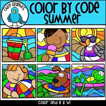 Color by Code Summer Clip Art Set - Chirp Graphics