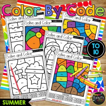 Color by Code Summer Math Activities {Addition & Subtraction to 10} End of Year