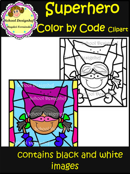 Color by Code - Superhero - Clip Art (School Designhcf)
